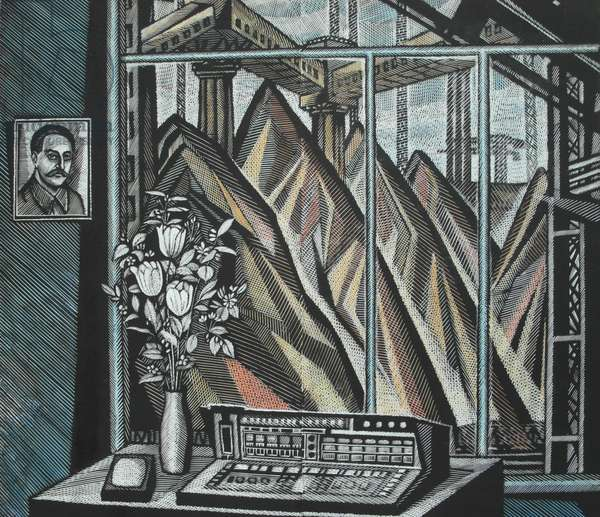 White Tulips, 1976 (linocut & w/c)