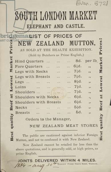 Advert for the South London Meat Market, 1884 (print)