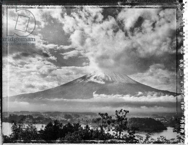Mount Fuji shot on Type 55 polaroid film, Japan (b/w photo)