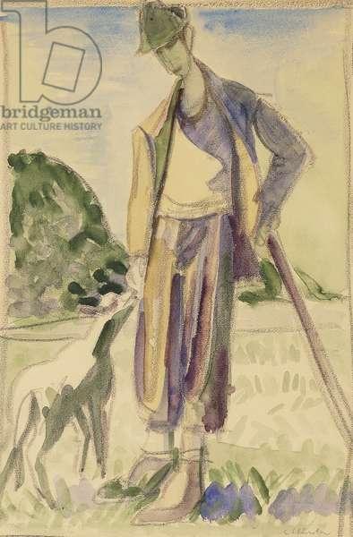 The Herdsman; Der Hirte, (gouache, watercolour and balck crayon on paper)