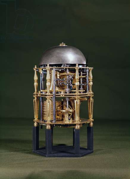 Back of a hexagonal table clock movement by Nicolas Lemaindre, 1619 (gilt-metal)