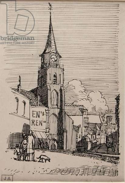 Church at Schaveningen, c.1924 (pen & ink on paper)