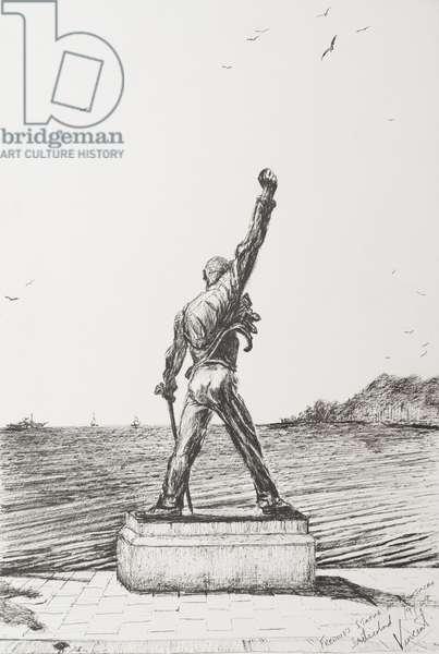 Freddie Mercury Statue Montreux Switzerland, 2009, (ink on Paper)