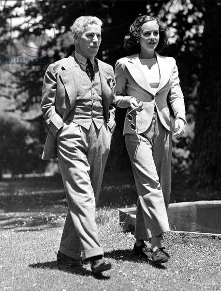 Charlie Chaplin and lover PAULETTE GODDARD enjoy their Del Monte, (California) vacation, 1936