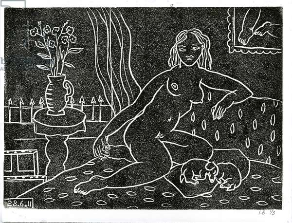 Studio Nude VI, 2011 (linocut on paper)