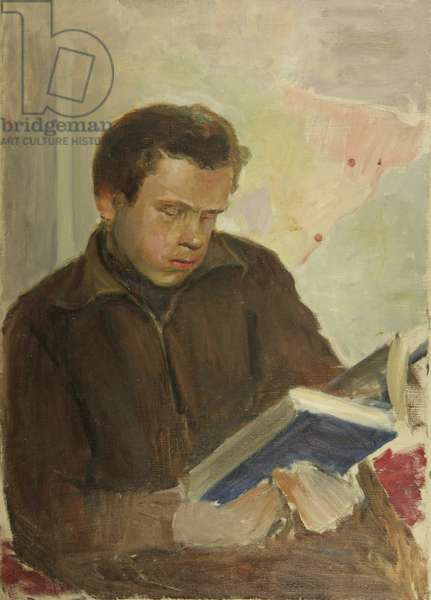 Boy Reading a Book, 1940s (oil on canvas)