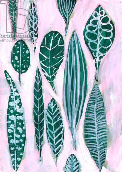 Green Leaves, Pink Ground, 2018 (gouache on card)
