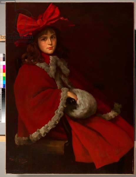 The Girl in Red (oil on canvas)