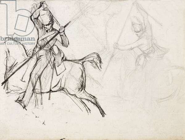 Studies for the figure of Sergeant Ewart, Scots Greys, for the painting showing his capture of the French Eagle at the Battle of Waterloo, 1815, c.1817 (pencil & ink on paper)