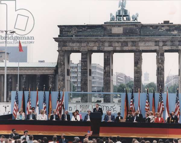 President Reagan giving his famous 'Mr. Gorbachev, tear down this wall!,' speech at the Berlin Wall and the Brandenburg Gate. June 12, 1987