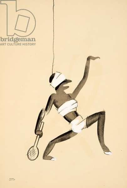 Dancer dressed as a tennis player from Le Tumulte Noir by Paul Colin, pub. 1929 (pochoir print)