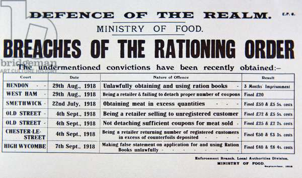 Defence of the Realm Act, Ministry of Food notice, 1918 (litho)