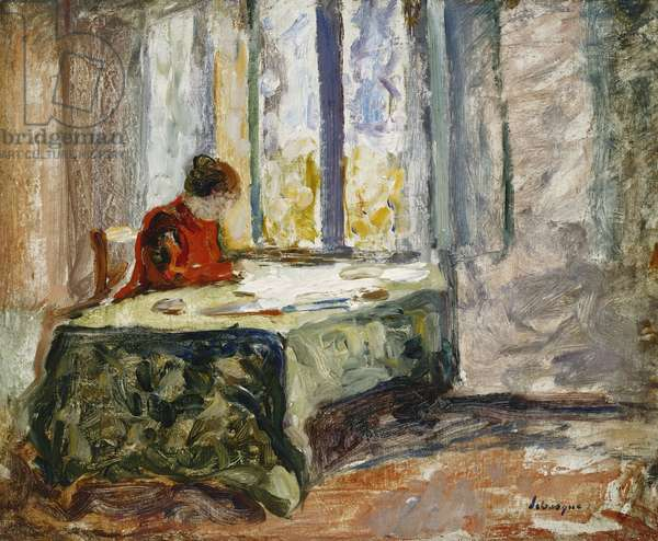 Woman Sewing; Femme Cousant, (oil on canvas)