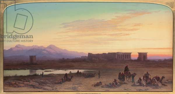 Bedouin Encampment Before the Temple of Hathor at Dendera, Egypt, 1867 (pencil, w/c & bodycolour on paper)