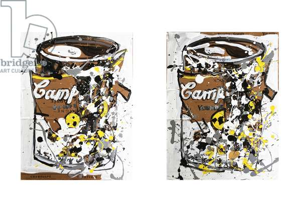 Cardboard Champagne Diptych, 2018 (ink & acrylic paint on cardboard)