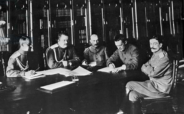 A meeting in the Ministry of War chaired by Alexander Kerensky (2nd right), 21st August, 1917 (b/w photo)