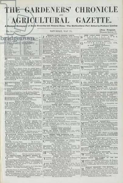 Front page of The Gardeners' Chronicle, May 12 1860 (print)
