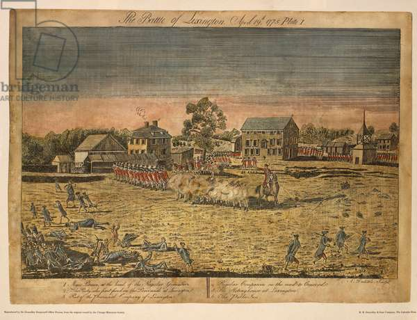 The Battle of Lexington, April 19th, 1775, Plate I, by Ralph Earl, 1775, Hand-Colored Etching and Engraving by Amos Doolittle, Printed by R. R. Donnelley & Sons Company