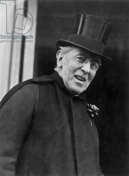 WOODROW WILSON (1856-1924) 28th President of the United States. Photographed in 1921 leaving his house in Washington, D.C.