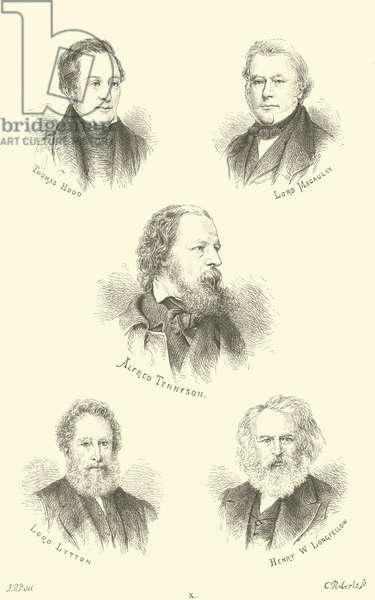 Thomas Hood, Lord Macaulay, Alfred Tennyson, Lord Lytton, Henry W Longfellow (engraving)