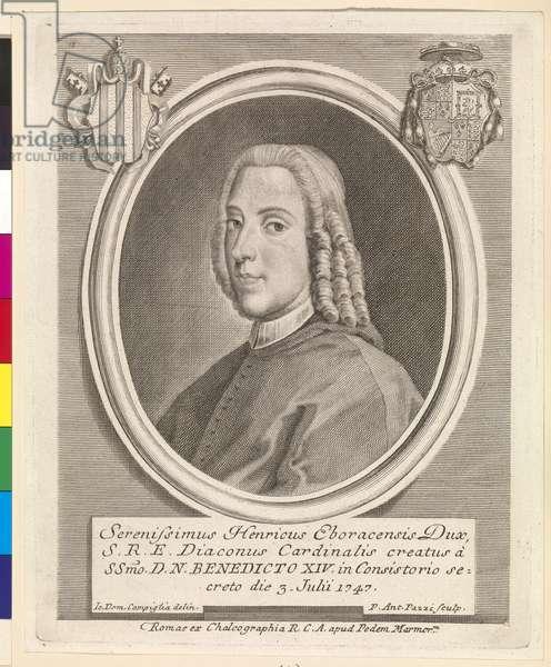 Henry Benedict Stuart, Cardinal Duke of York, by Pier Antonio Pazzi, c.1747-48 (engraving)