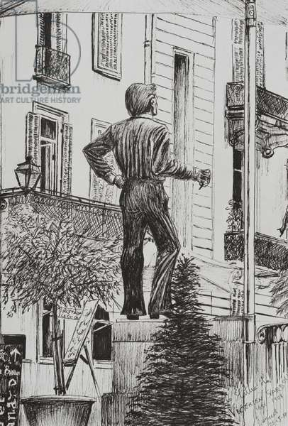 Statue at Cannet, 2014 (ink on paper)