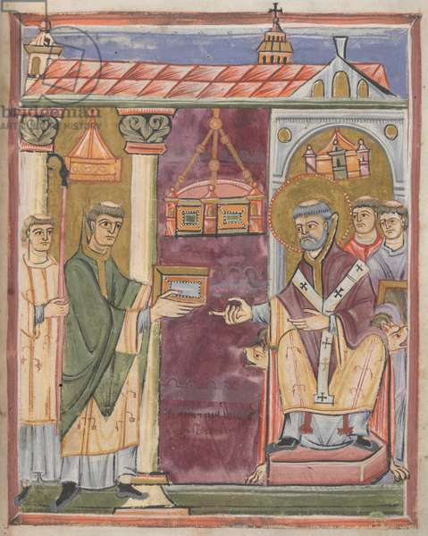 Priest presenting a book [to St. Augustine?]