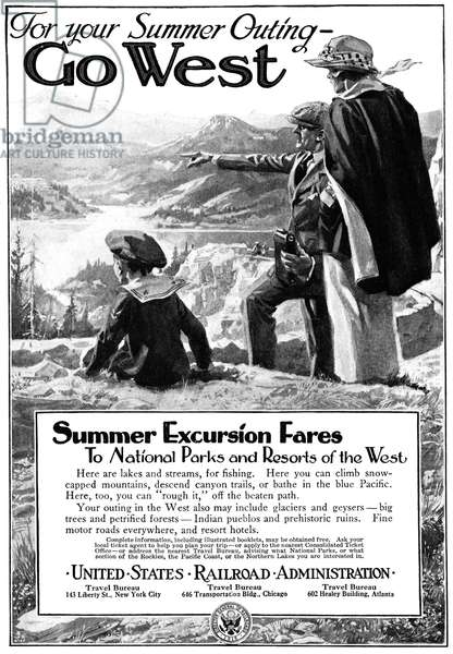 AD: TRAVEL, 1919 American advertisement for summer travel in the American West, 1919.