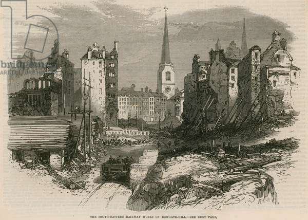 The South-Eastern Railway works on Dowgate Hill, London (engraving)
