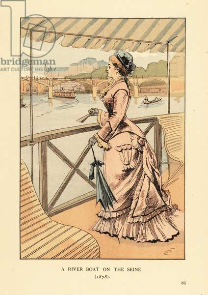 A river boat on the Seine, 1878. Woman in pink dress with parasol and fan on a tourist steamboat on the river Seine. The Bateaux Mouches launched at the Exposition universelle de 1867. Handcoloured lithograph by R.V. after an illustration by Francois Courboin from Octave Uzanne's Fashion in Paris, William Heinemann, London, 1898.