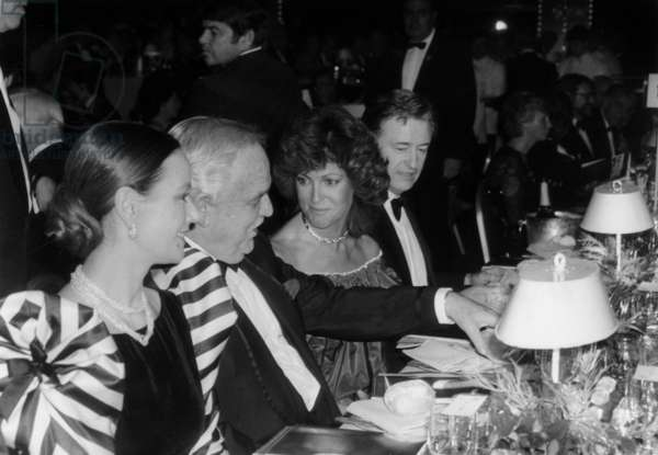 Giving of Prizes at Monte Carlo Television Festival in Presence of Prince Rainier Iii, Claudine Auger (L), Chantal Nobel and Louis Velle February 19, 1985 (b/w photo)