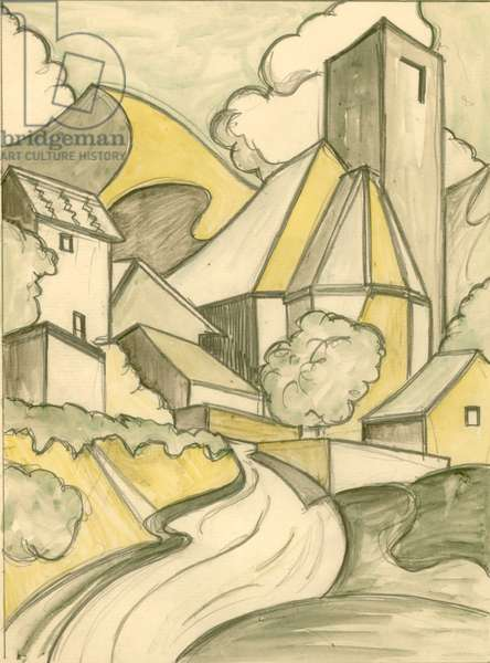 Study for Print of Mediterranean Village (pencil & w/c)