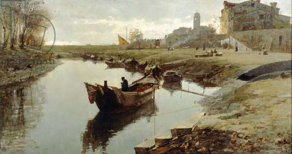 Poor Venice, 1882-1883, by Pietro Fragiacomo (1856-1922), oil on canvas, 78x147 cm.