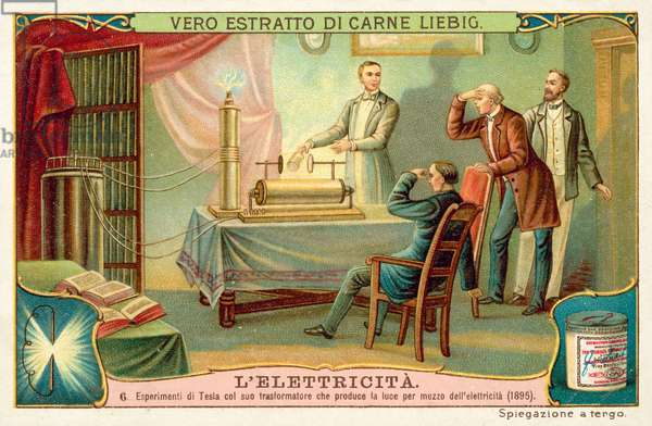 Nikola Tesla's experiment producing light generated by an electric transformer, 1895 (chromolitho)
