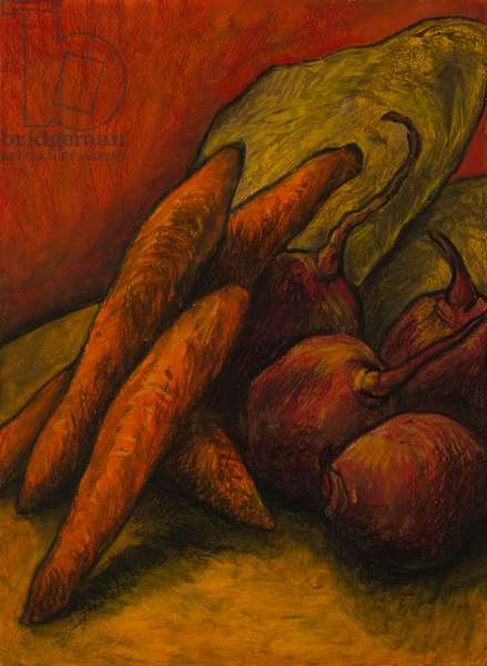 Still life with two stones, 2008 (oil pastel on paper)