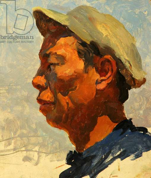 Chinese Farm Worker in the Southern Republics of the Soviet Union, 1957 (oil on card)