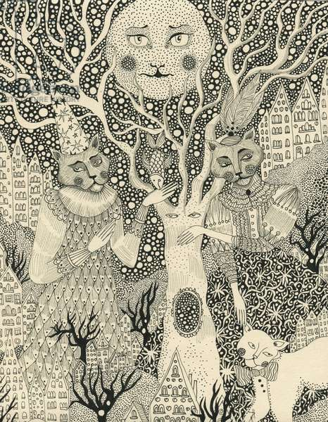 Cats in the Magic Garden, 2011, (pen and ink on paper)