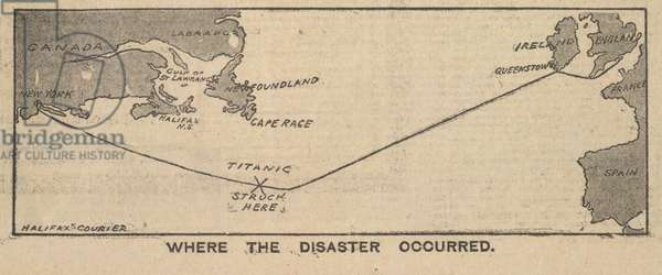 A map illustration in a newspaper showing the location of where the Titanic disaster occurred.