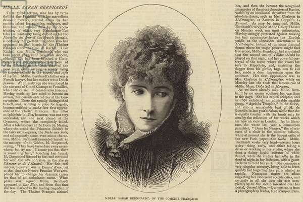 Mademoiselle Sarah Bernhardt, of the Comedie Francaise (engraving)