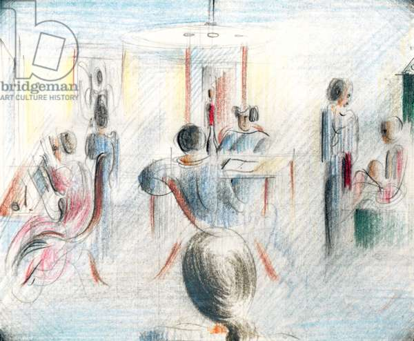 Figures in a Room, 1936 (pencil & crayon on graph paper)