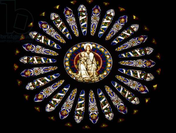 Rose window of Cathedral of Saint Lawrence (14th century), Genoa, Liguria, Italy