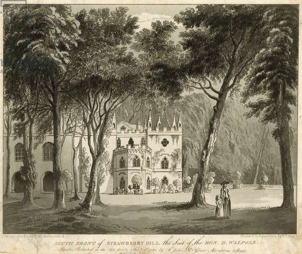 South front of Strawberry Hill, Twickenham, London, the seat of the Honourable Horace Walpole (engraving)