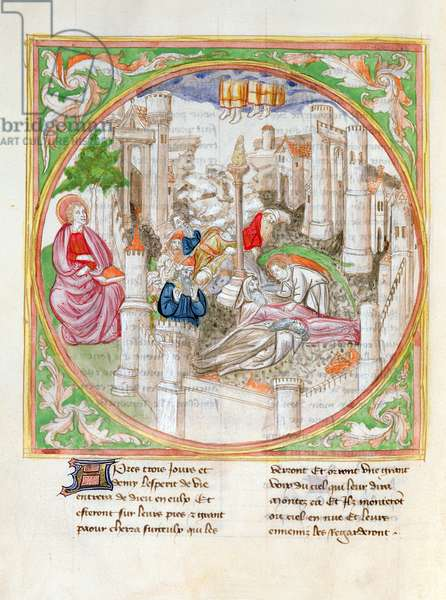 Ms. 28/1378 fol.69v The Resurrection of the Two Witnesses and the Earthquake, from 'Histoire Extraite de la Bible et Apocalypse' (vellum)