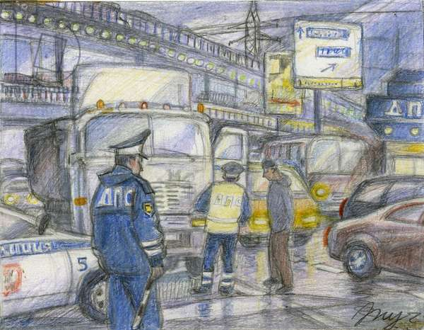 Moscow Traffic Police Post, 2008 (coloured pencil on paper)