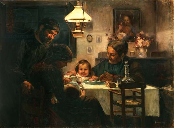 Worker's Family (oil on canvas)