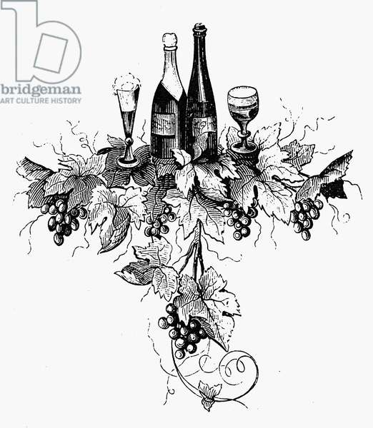 WINE AND CHAMPAGNE Line engraving, 19th century.