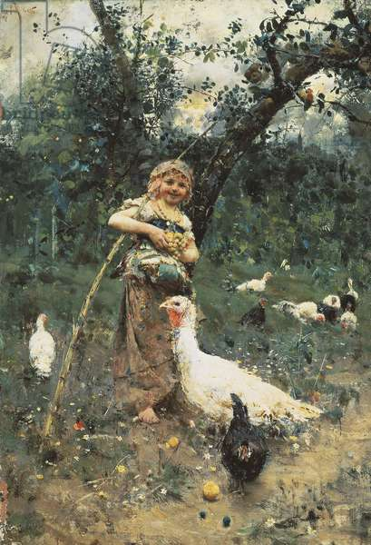 The Guardian of the Chickens, by Francesco Paolo Michetti, 1877, oil on canvas