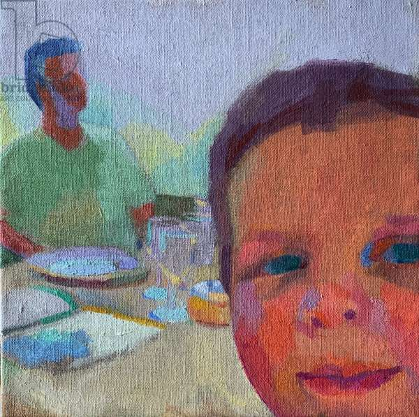 Eyeing up the Icecream , 2029, (oil on canvas board)