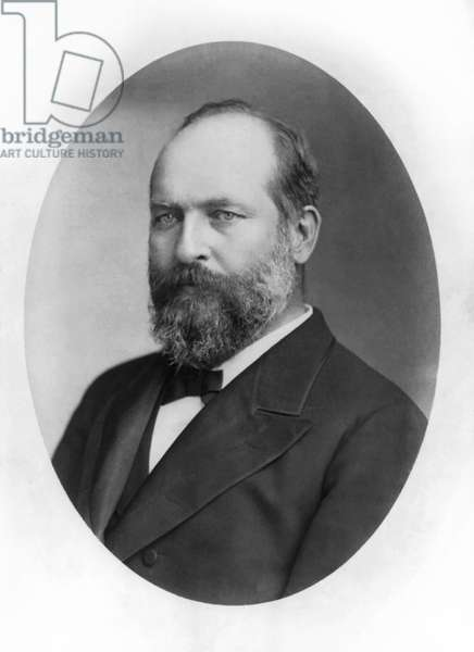 James A. Garfield (1831-81), 20th President of the United States, Head and Shoulders Portrait, published by J. Winter, 1881 (b/w photo)