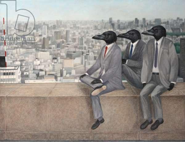 Three crow, 2010, (oil on canvas)